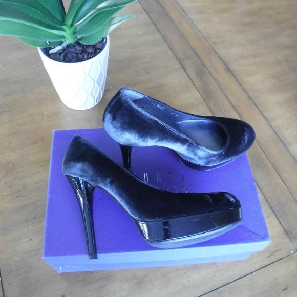 Stuart Weitzman Rowswoon Smoke Velvet Heels 6